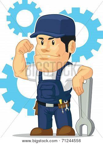 Strong Mechanic Customizable Mascot Set