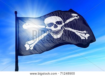 Pirate Skull And Crossbones Flag Waving On The Wind
