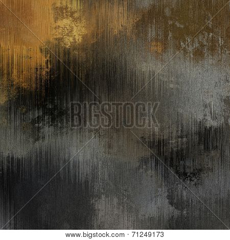 art abstract grunge dust textured monochrome background in black, grey and gold colors