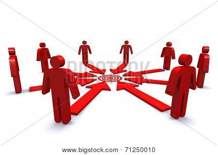 Group Of Business Workers With Red Target Spot.