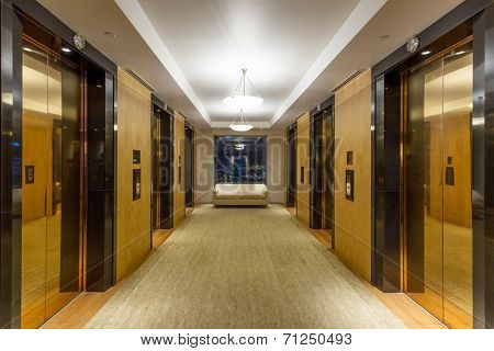 Golden elevator and corridor