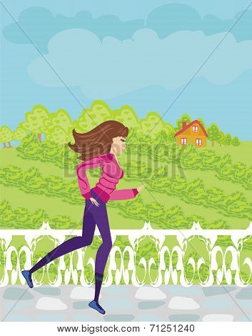 Jogging Girl In The Countryside