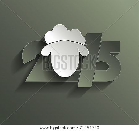 Happy New Year 2015 Creative Greeting Card Design With Sheep