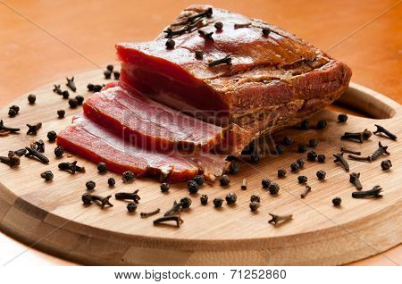 A Delicious Smoked Bacon With Spices