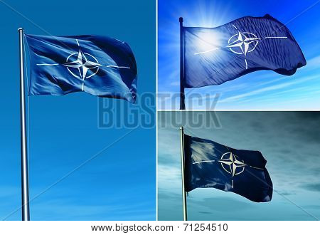 Nato Flag Waving On The Wind