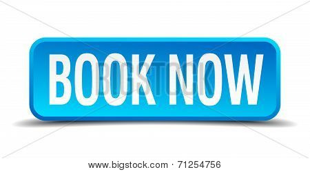 Book Now Blue 3D Realistic Square Isolated Button