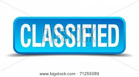 Classified Blue 3D Realistic Square Isolated Button