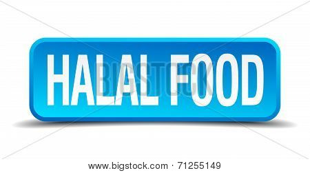 Halal Food Blue 3D Realistic Square Isolated Button