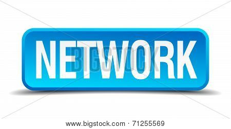 Network Blue 3D Realistic Square Isolated Button