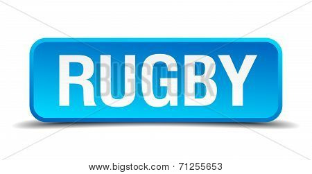 Rugby Blue 3D Realistic Square Isolated Button