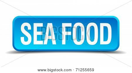 Sea Food Blue 3D Realistic Square Isolated Button