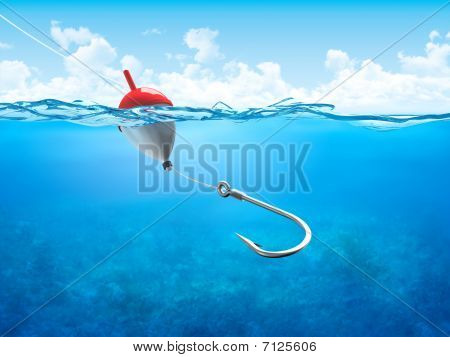 Float, Fishing Line And Hook Underwater Horizontal