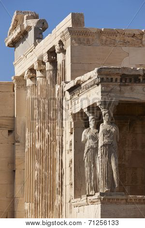 Acropolis Of Athens. Older Temple Of Athena Polios And Erechtheion. Greece