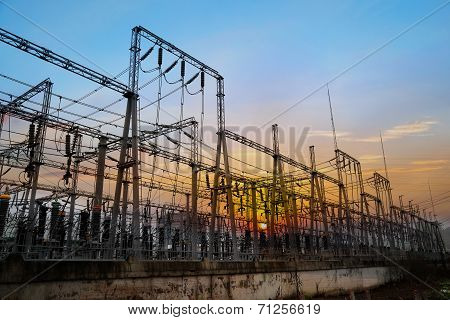 Electrical Substation On The Sunset Background