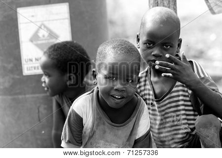 TORIT, SOUTH SUDAN-FEBRUARY 21 2013: Unidentified boys play in the town of Torit, South Sudan