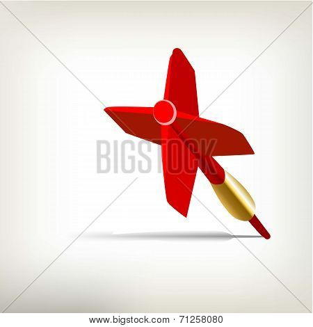 Plastic Red Dart Isolated on White Background.