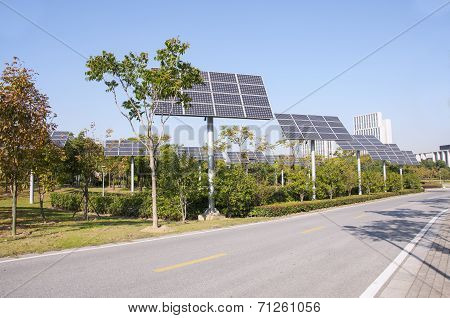 Photovoltaic Solar Panels, The Side Of The Road, Ecological Environmental Protection