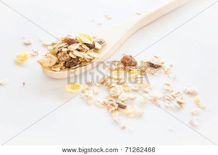 Crunchy Muesli On Clean White Background