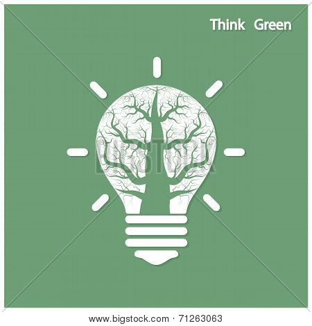 Tree Of Green Idea Shoot Grow In A Light Bulb