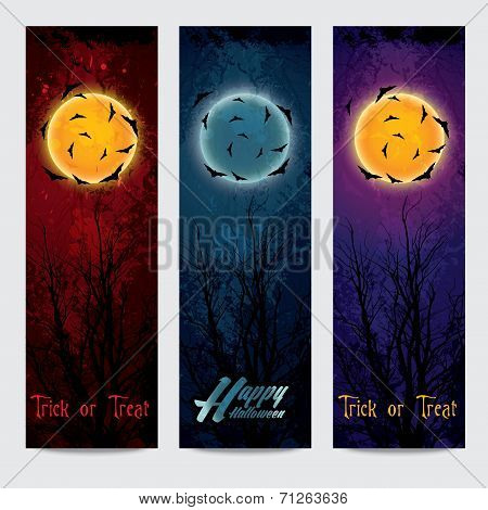 Halloween vertical banners set with moon