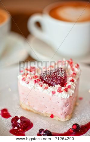 tasty heart-shaped valentine cake