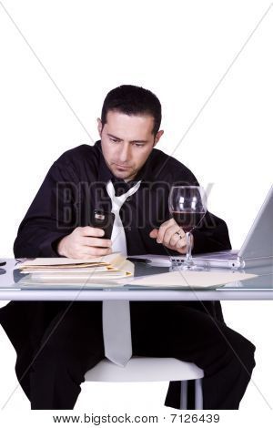 Businessman At His Desk Working