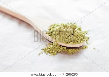 Spoon Of Green Tea Powder