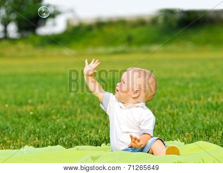 Little Boy Portrait With Air Bubble