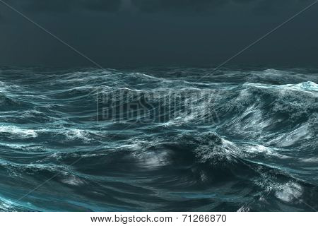 Digitally generated rough blue ocean under dark sky