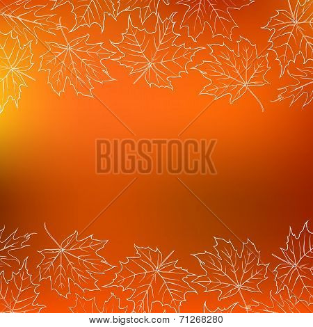 Vector card with autumn decor and leafs