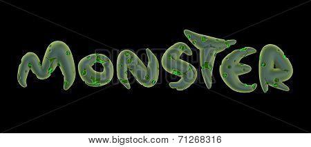 3D Green Monster Word On Black