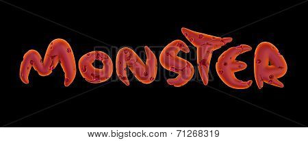 3D Pink Orange Monster Word On Black