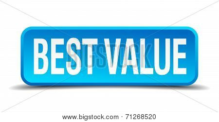 Best Value Blue 3D Realistic Square Isolated Button