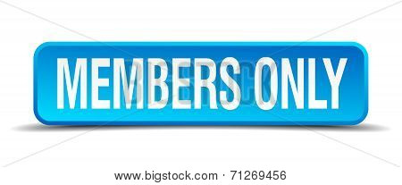 Members Only Blue 3D Realistic Square Isolated Button