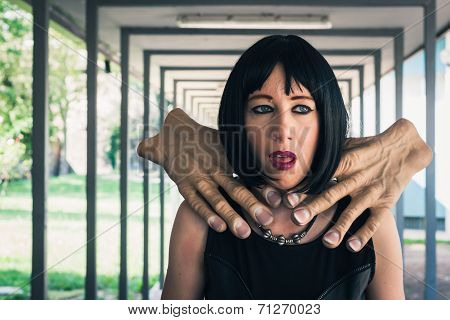 Pretty Goth Girl Choked By Two Hands