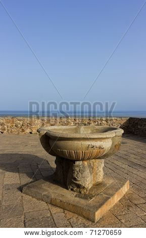 Sicily, Cefalu, Terrace Overlooking The Sea