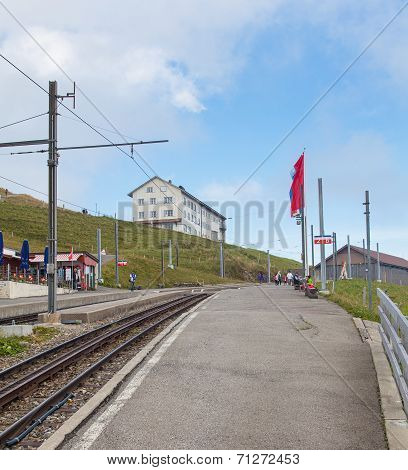 Cogwheel Railway Station On The Top Of Mt. Rigi