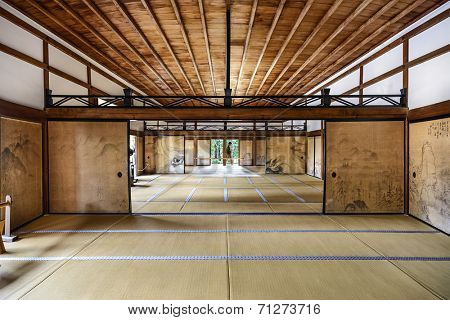 KYOTO, JAPAN - APRIL 9, 2014: The interior of the Kuri, the main building of Ryoanji Temple.