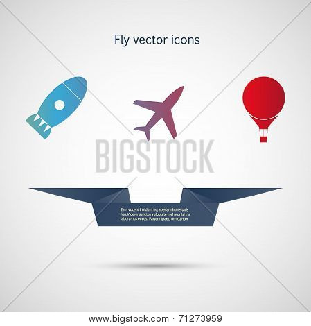 Flat vector icons aircraft, missiles and balloon