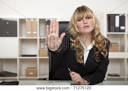 Young Businesswoman Calling A Halt
