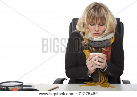 Cold Businesswoman Drinking Hot Coffee