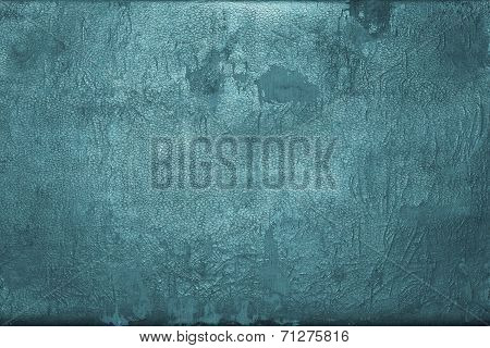 Old Shabby Skin Of Dark Turquoise Color With Gloss