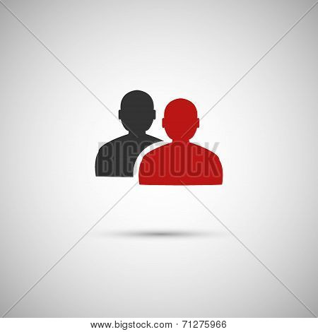 black and red flat vector icon people eps