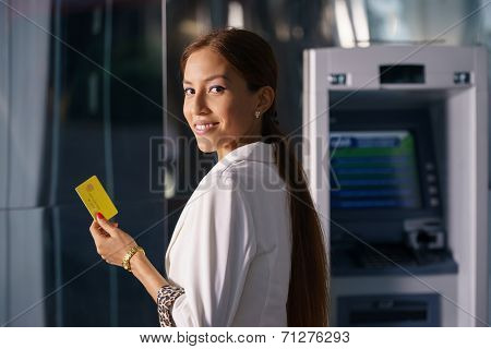 Portrait Business Woman Withdraw Cash Machine Card