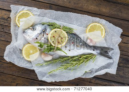 Fresh Bream Fish With Herbs And Spices Ready To Cook