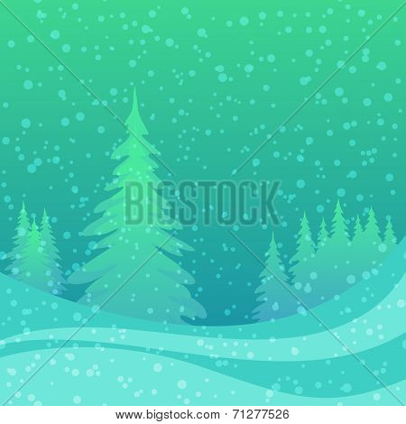 Christmas background, winter forest