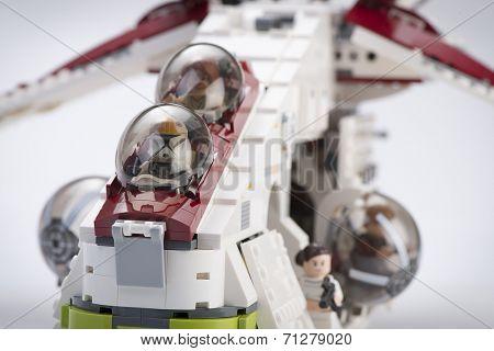 Ankara, Turkey - April 24, 2014: Lego Star Wars Republic Gunship on white background