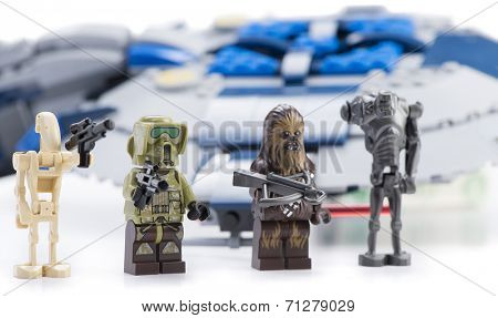 Ankara, Turkey - April 24, 2014: Lego Star Wars Droid Gunship with minifigures isolated on white background.
