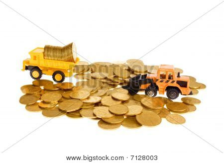 Construction and golden coins