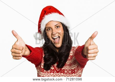 Woman giving a thumbs up on white background